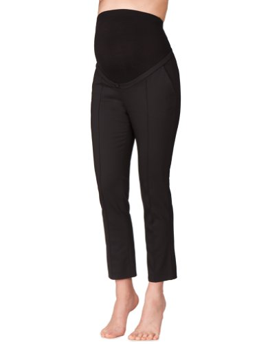Seraphine Women's Tailored Cropped Over Bump Maternity Pants in Black Size 14