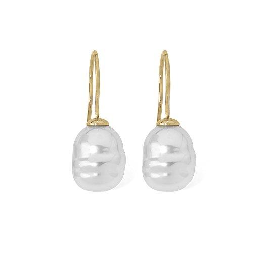 Majorica Barroco - Pendientes de plata esterlina 925, chapados en oro, con perla y cierre de gancho