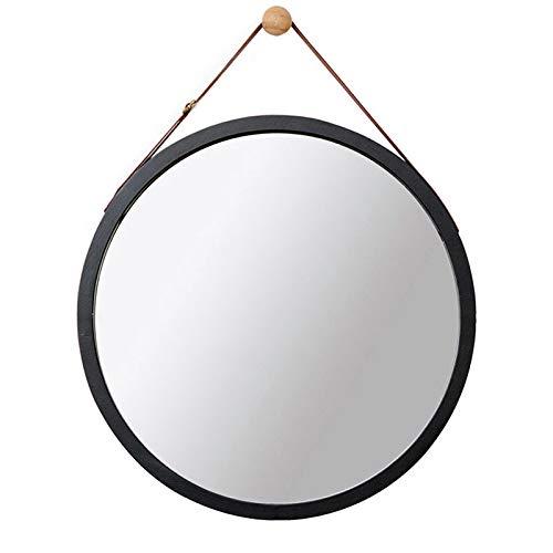 Espejo Redondo de Pared Espejo de baño Espejo de tocador Espejo de baño Espejo Decorativo de Madera de Dormitorio Espejo Redondo con Cuerda (45cm*45cm, Black)