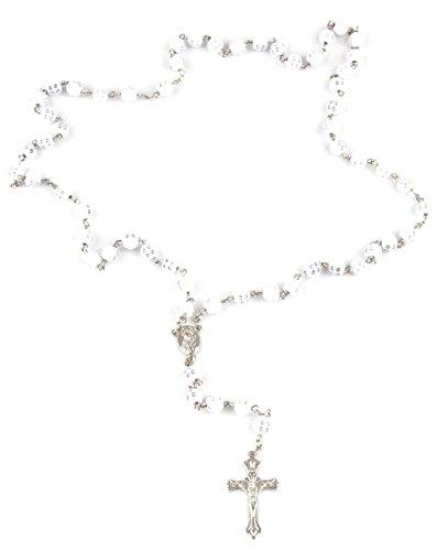 Trendit Halskette christliche-Herren Damen Gebets-Ketten Holz Weiss edler Rosenkranz Designer Rosenkränze, Kette zum Gebet viele Modelle (Holzperle Weiss)