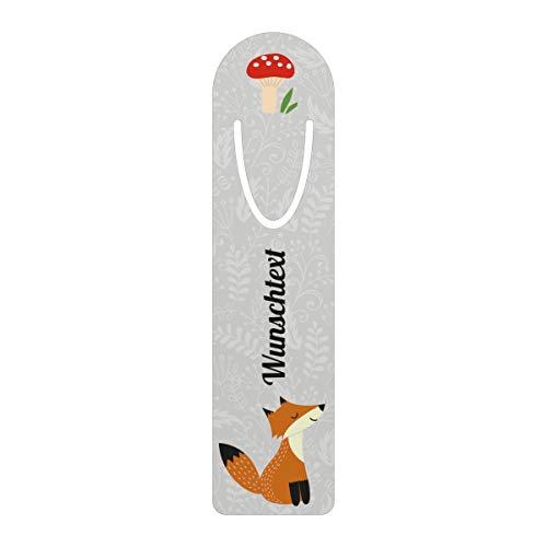 printplanet® - Metall-Lesezeichen mit Namen oder Text bedrucken - Buchzeichen mit eigenem Text selbst gestalten -Maße: 3,2 cm x 12,7 cm - Motiv: Fuchs
