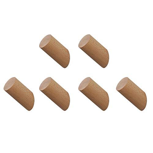 Gancho de madera Natural Sólido Curioso Pescado Cilindro de madera Columna Montado en la pared Ropa de tela Sombrero Escudo de la bolsa Bolsa Bata Bufanda Percha Decoración minimalista Versátil (6PCS)