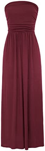 GRACE KARIN Women Strapless Maxi Dress Tube Top Long Dress Size S Wine Red product image