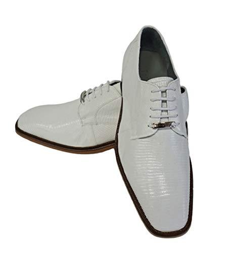 Belvedere (Olivo Mens White Genuine Lizard Tie up Shoes (8.5)