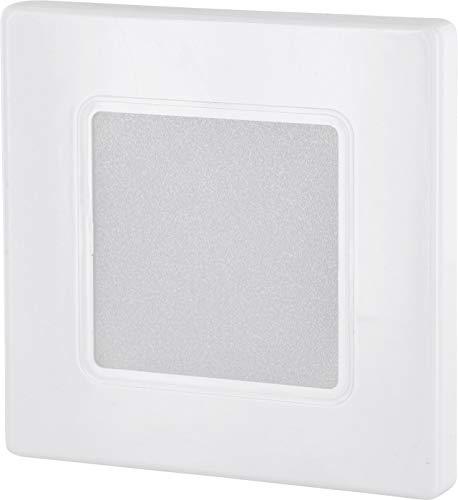 Foco LED empotrable de pared de 230 V, cuadrado, color blanco, para caja de interruptores de 60 mm, transformador LED integrado, luz blanca cálida (3000 K)