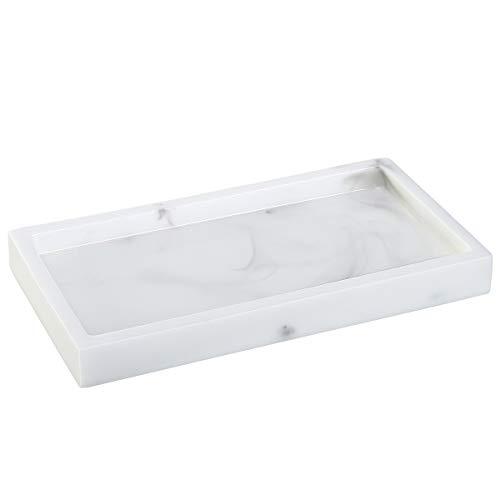 Lewondr 8 Zoll Tablett, Mini Harz Marmor Tablett Deko Tablett, Make Up Kosmetik Organizer Jewelry Organizer Tisch Tablett für Seife Kerzen Handtücher Schmuck Waschbecken Aufbewahrung - Marmorweiß