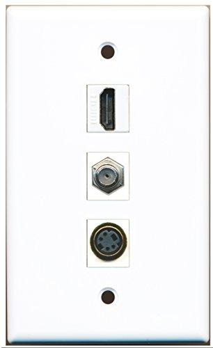 RiteAV - 1 Poort HDMI en 1 Poort Coax Kabel TV- F-Type en 1 Poort S-Video Wandplaat