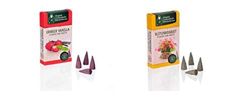 Crottendorfer Original Räucherkerzen Größe M in fruchtigen und blumigen Duftnoten für Jede Jahreszeit (Blütenbouquet & Erdbeer-Vanilla, 2er)