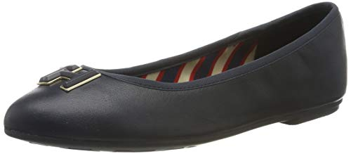 Tommy Hilfiger Essential Leather Ballerina, Zapatos de Tacón para Mujer, Midnight 403, 37 EU
