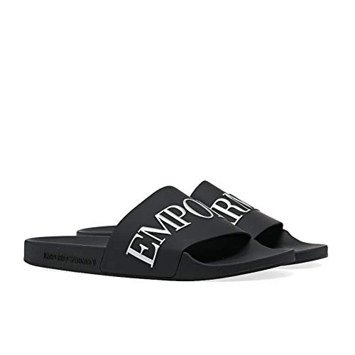 Emporio Armani Metallic Sandals 44 EU Black Black Opq Silver