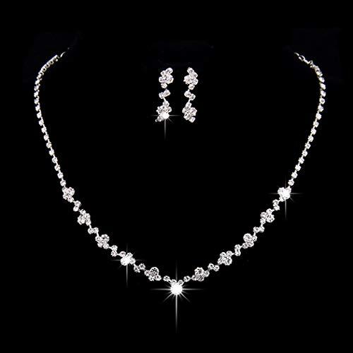 Unicra Juego de collar y pendientes de novia de plata con diamantes de imitación para mujer y niñas