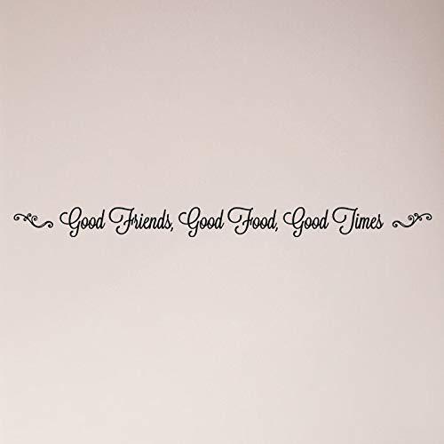Autocollant mural Good Friends Good Food Good Times pour cuisine, salle à manger