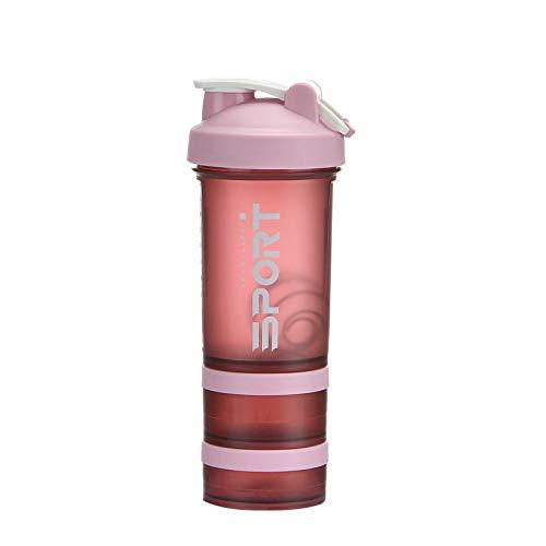 ROSEBEAR Botella de la coctelera de proteína portátil suplemento mezclador taza con almacenamiento en polvo para correr ciclismo fitness