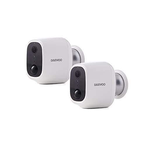 Daewoo W501P2 - Set di 2 fotocamere indipendenti: Int/Ext W501P2, Full HD, rilevamento di movimento, visione notturna, sistema audio, compatibile con Amazon Alexa, colore: bianco