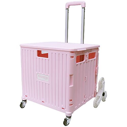 [スーツケースカンパニー]GPT 折りたたみ キャリーカート 大容量 65L 階段 段差 お買い物 キャリー コンテナ フタ付き アウトドア キャンプ コンパクト 台車 ピンク