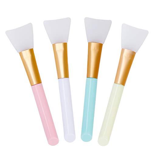 Brosse de Masque Brosse Cosmétique en Silicone Brosse D'Applicateur de Masque Facial Pinceaux de Maquillage Souple pour L'application Visage Yeux Crème ou DIY 4Pcs