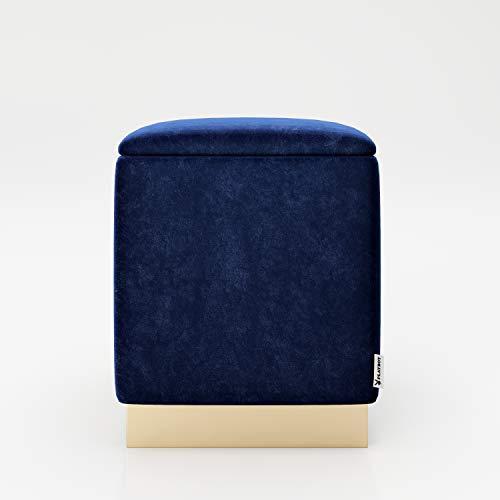 PLAYBOY Pouf mit Stauraum und Goldfuss, abnehmbaren Deckel, Samtstoff in Light Blue, Retro-Design, Sitzhocker, Wäschetonne, Ottoman, Samtbezug in Blau, Fuss aus Metall in gold