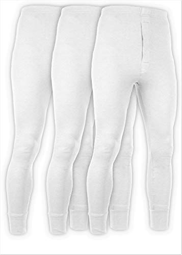 Andrew Scott Men's 3 Pack Premium Cotton Base Layer Long Thermal Underwear Pants (3 Pack -White, XX-Large)