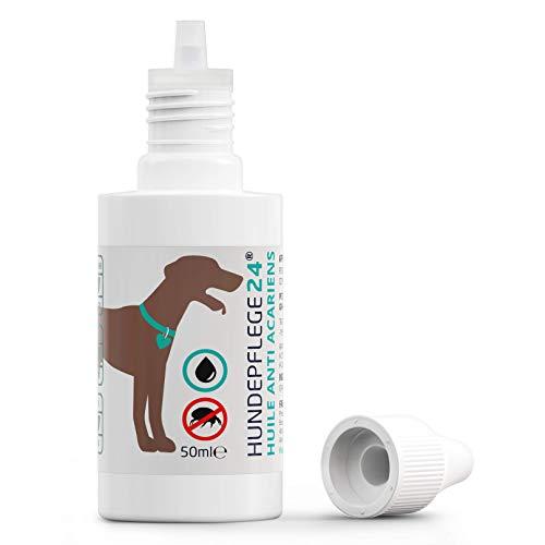 Hundepflege24 Huile Anti-acariens pour Chiens, Chats & Animaux de Compagnie - 50ml - Soins des Oreilles pour Chiens 100% Naturel & végétalien Contre Les démangeaisons & Les infestations d'acariens