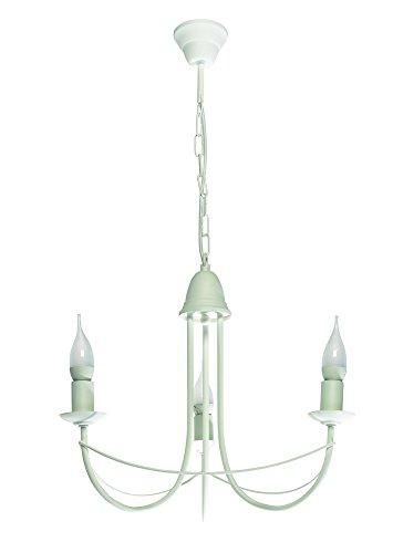 Lampex - Lampadario Nikozja 3, in metallo, E14, colore: Bianco