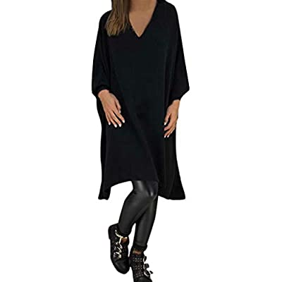 Sufeng Fashion Women Casual Solid V-Neck Long Sleeve Loose Dress Knee Length Dresses