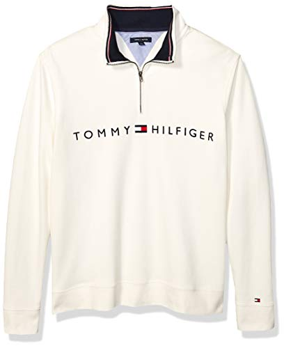 Tommy Hilfiger Men's Size Big and Tall 1/4 Zip Pullover Sweater, Bright White, Tall-2XL