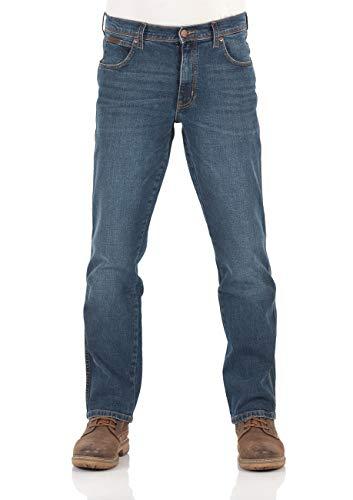 Wrangler Herren Jeans Texas Stretch Regular Fit Jeanshose Straight Denim Hose 99% Baumwolle Blau W30-W44, Größe:W 38 L 36, Farbauswahl:Blue Blast (W121HN11Y)