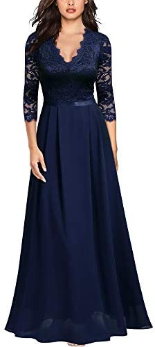 MISSMAY Women s Formal Floral Lace 2 3 Sleeves Long Evening Party Maxi Dress XX Large B Navy product image