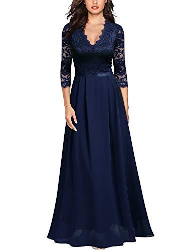 MISSMAY Women's Formal Floral Lace 2/3 Sleeves Long Evening Party Maxi Dress (Medium, B-Navy Blue)