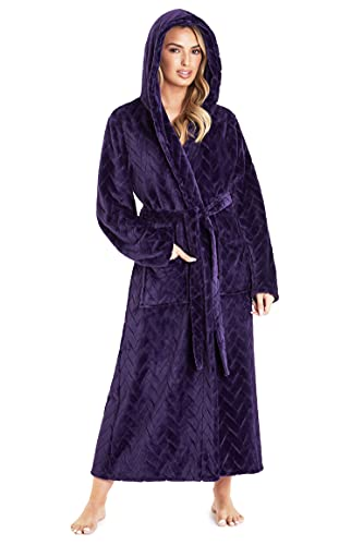 CityComfort Bademantel Damen Flauschig, Morgenmantel Damen mit Kapuze, Fleece Bademäntel für Damen, S-XL (Lila, XL)