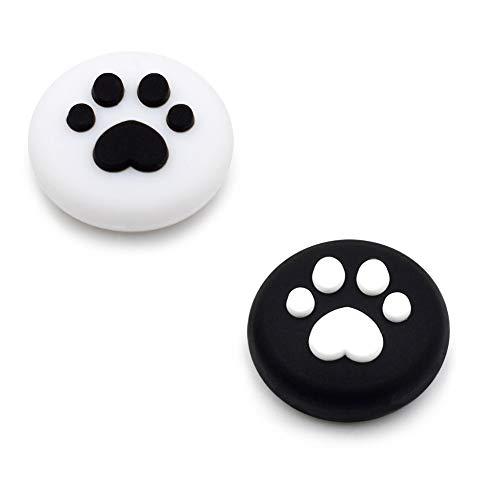 2 x Joystick Kappen kompatibel für Nintendo Switch & Lite - Katzenpfoten für besseren Grip und Aussehen - aus weichem Silikon (Weiß/Schwarz)