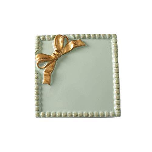 HHTX Europäische Schleife dekorative Tablett Schmuck Tablett Keramik Schmuck Geschirr Waschtisch Tablett Armband Ohrringe Halskette Ring Aufbewahrungsplatten für Kommode Badezimmer Waschtisch Geb