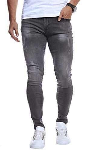 Leif Nelson Herren Jeans Hose Stretch Slim Fit Denim Blaue Lange Schwarze Jeanshose für Männer Jungen weiße Freizeithose Schwarze Cargo Chino Sommer Winter Basic LN271 W34L32 Anthrazit