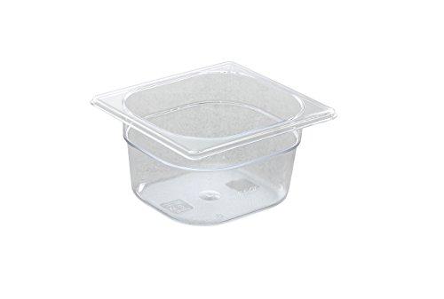 HENDI Gastronormbehälter, Temperaturbeständig von -40° bis 110°C, Skalierung, Geruchs- und geschmackneutral, 1L, Polycarbonat, GN 1/6, 176x162x(H)65mm, Transparent