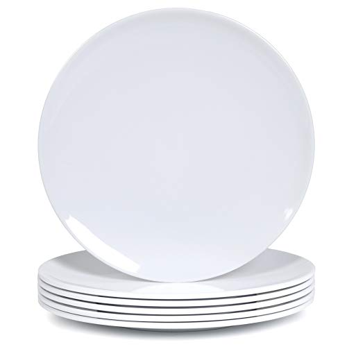 Melamine Dinner Plates - 6pcs 10inch Dinnerware Dishes Set for Indoor and Outdoor Use, Break-resistant, White