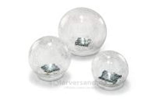 Solar Glasleuchtkugeln 3er Set 10,12 und 15cm Lichtfarbe kaltweiß Solar Gartenbeleuchtung 102082