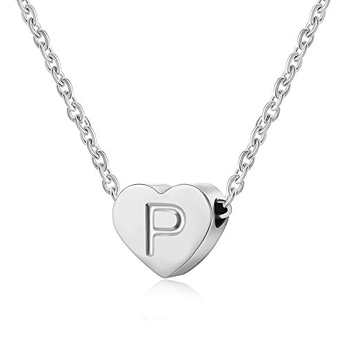 AFSTALR Letter Initial Necklace Girls Women Silver Personalized Tiny Initial Alphabet Love Choker Necklace Gifts, Silver Letter P Necklace