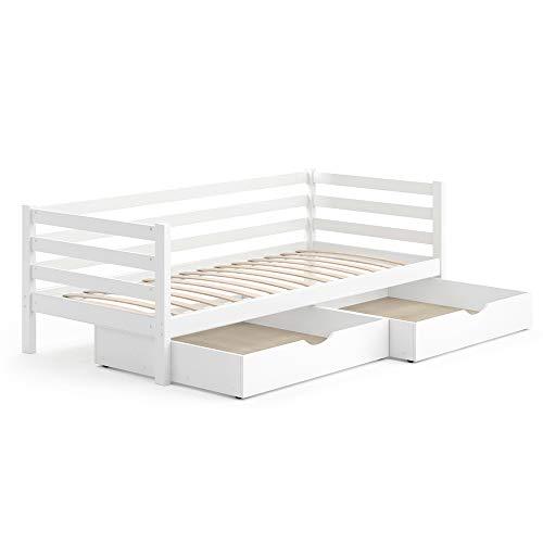 VitaliSpa Kinderbett Darcy 90x200cm Lattenrost Schubladen Jugendbett Juniorbett (Weiß, Mit Schubladen)