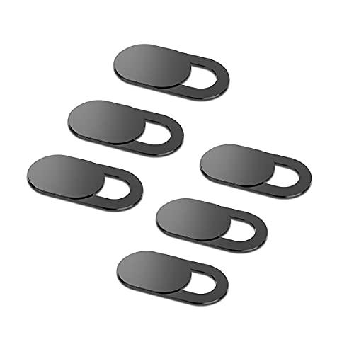 Kokio [6 Unidades Webcam Cover Slide, Ultra-Fino Webcam Cubierta para MacBook Pro, MacBook Air, Portatil, iMac, iPad, Tapa Webcam, Camera Cover, Tablets Protege tu Privacidad y Seguridad (Negro)
