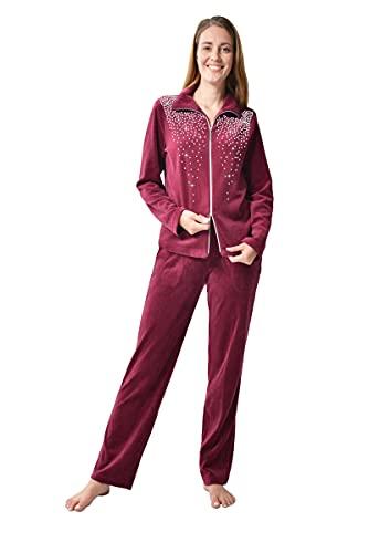 DeSen Damen Velours Nicki Freizeitanzug Fitnessanzug Hausanzug Jogginganzug Nicki-Anzug mit Reißverschluss und Glitzersteinen (40/42, Weinrot )