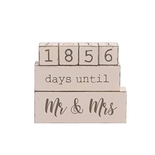 BESPORTBLE Días Calendario de La Cuenta Regresiva de La Boda hasta El Señor Y La Señora Calendario de Mesa de Madera Adorno de Bloque de Calendario para La Habitación Del Hogar
