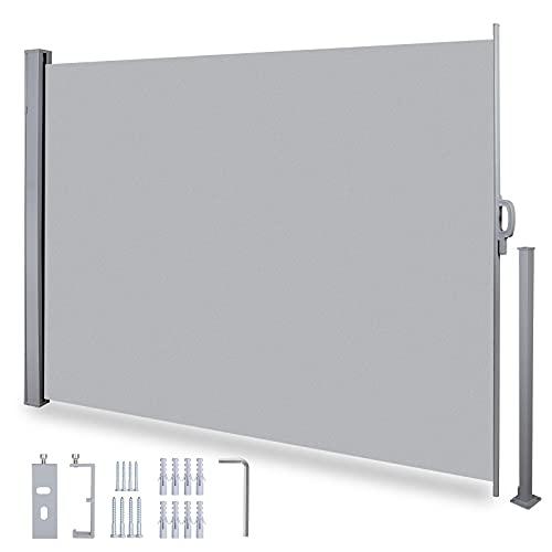 Seitenmarkise Ausziehbar 160x300cm (HxL), Sonnenschutz Sichtschutz mit Bodenhalterung, Seitenwandmarkise, Seitenrollo mit Bodenhalterung für Balkon Terrasse Garten