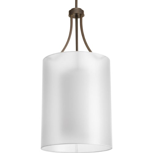 "Progress Lighting P5046-20 Invite 2-Lt. Foyer Drum (15"") with White silk mylar shade"