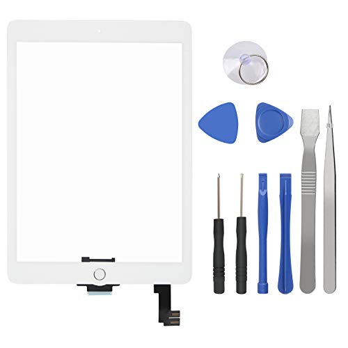 Touch Screen Digitizer for iPad Air 2 9.7 inch - 2nd Generation iPad Air Front Glass Replacement with Home Button & Tool Repair Kit (A1566, A1567) - White