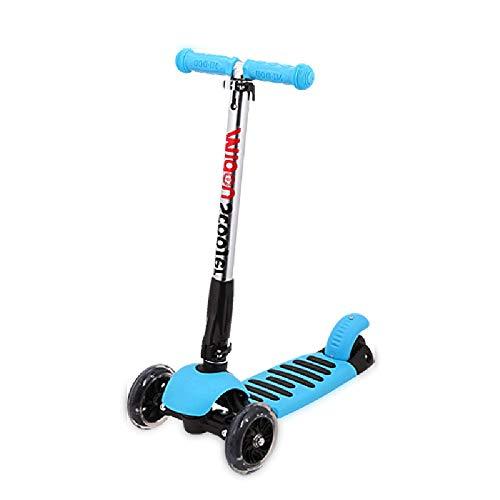 LiChaoWen T-Bar Kinderstep met 3 wielen, in hoogte verstelbare handgreep voor scooter voor kinderen, grote brug, geschikt voor meisjes en jongens