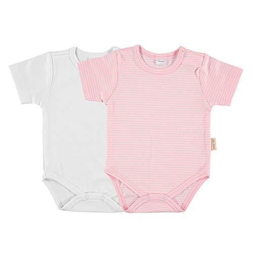 Petit Oh! - Pack de 2 Bodies Manga Corta para bebé 100% algodón Pima, Color listado Rosa y Blanco