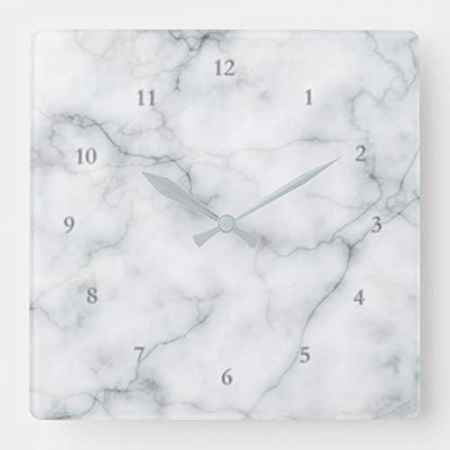 Tian Huan88 15 By 15-inch wandklok, wit Marble Elegant vierkante wandklok Living Room Clock, Home Decor Clock