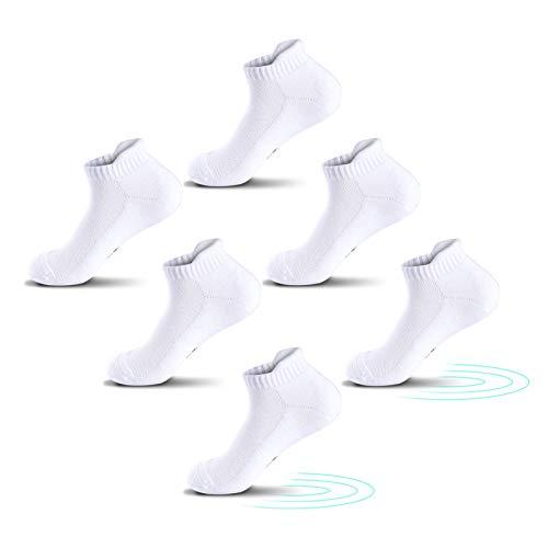 QINCAO Calcetines Tobilleros Hombre y Mujer 3 Pares Calcetín Deporte de Algodón Anti-ampollas Acolchados Calcetines Cortos 3 x Blanco 39-42