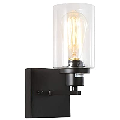Black Bathroom Vanity Light 1-Light,Modern Hallway Wall Sconce Light fixtures, Industrial Lighting with Clear Glass Shade and Metal Base for Bedroom Living Room