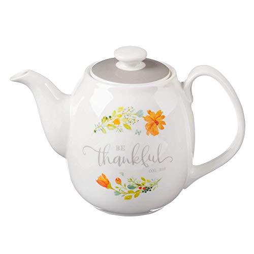 Cerâmica Bule Seja grato Colossenses 3:15 Laranja Flower Tea For One Bule Para Mulheres